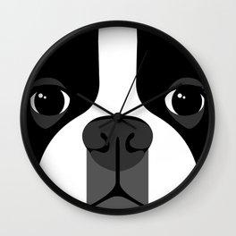 Boston Terrier Close Up Wall Clock