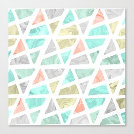 Modern geometrical abstract marble triangles pattern Canvas Print