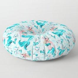 Pinup Mermaid with Merkittens Floor Pillow