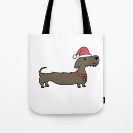 Dacshund Santa Tote Bag