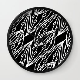 White molecular helix with diagonal circles on a black background. Wall Clock