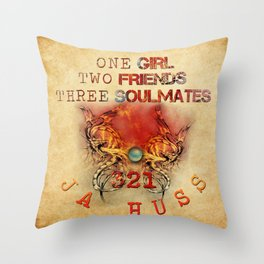 321 - One Girl, Two Friends, Three Soulmates with dragons (square) Throw Pillow
