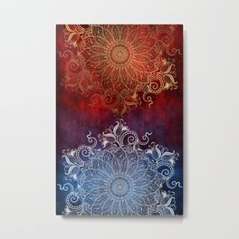 Mandala - Fire & Ice Metal Print