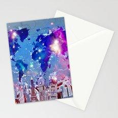 world map city skyline galaxy Stationery Cards