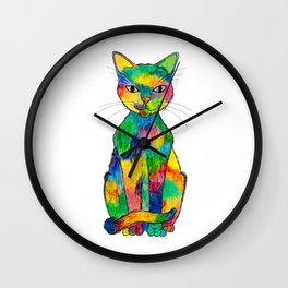 Rainbow Cat Wall Clock