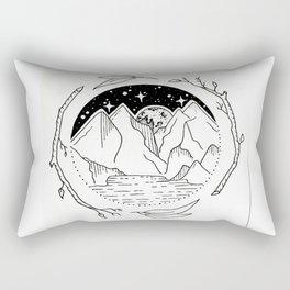 Moon Over Mountain Range Circular Botanical Illustration Rectangular Pillow