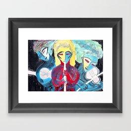 Three Blue Jazz Sisters Framed Art Print