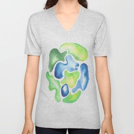 170623 Colour Shapes Watercolor 5| Abstract Shapes Drawing | Abstract Shapes Art Unisex V-Neck