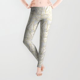Paper Airplanes Faux Gold on Grey Leggings