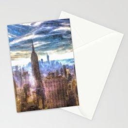 New York Manhattan Skyline Art Stationery Cards