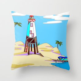 A Lighthouse on the Beach with Palm Trees Throw Pillow