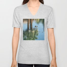 Pond Reflections of Ducks With Ducklings and Palm Trees Unisex V-Neck