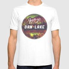 Greetings from Dan Lake CA Mens Fitted Tee MEDIUM White