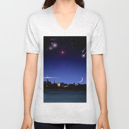 Lighthouse over the city. Unisex V-Neck