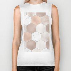 Rose pearl and marble hexagons Biker Tank