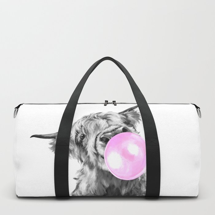 Bubble Gum Highland Cow Black and White Duffle Bag