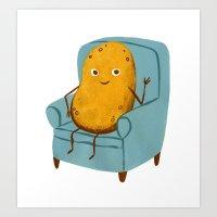 potato Art Prints featuring Couch Potato by Julia Bereciartu