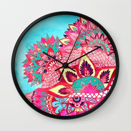 Bohemian boho red blue floral paisley pattern Wall Clock