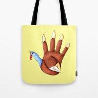 turkey Tote Bags featuring 1st Turkey by KristenOKeefeArt