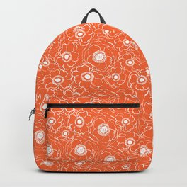 Orange and white floral pattern clemson football college university alumni varsity team fan Backpack