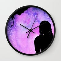 mother of dragons Wall Clocks featuring Mother of Dragons Silhouette over Purple Watercolor by Jessica Barst