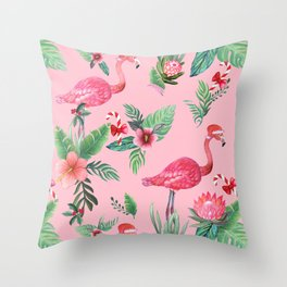 Santa Flamingo Santa Christmas // Holidays Throw Pillow
