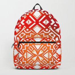 Tribal Tiles II (Red, Orange, Brown) Geometric Backpack