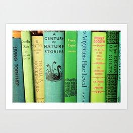 Blue & Green Vintage Book Spines Art Print