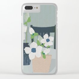 Flowers on the table spring blooms helebores Clear iPhone Case