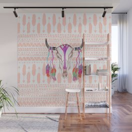 Watercolor Bull Skull Feathers and Arrow Aztec Wall Mural