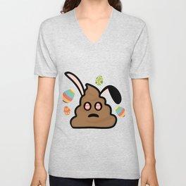 Poop Emoji Easter Bunny Ears Funny Unisex V-Neck