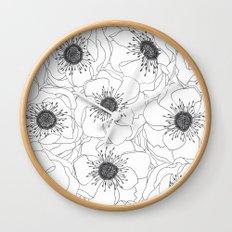 White Anemones Wall Clock