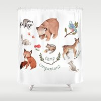 camp Shower Curtains featuring Camp Companions by Brooke Weeber