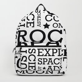 Space Text inspirational poster. Backpack