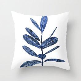 indigo ficus leaf watercolor Throw Pillow
