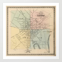 Vintage Map of Lancaster PA (1864) Art Print