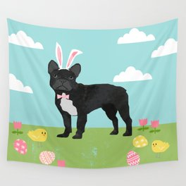French Bulldog easter spring dog breed gifts pure breed frenchies black with white coat Wall Tapestry