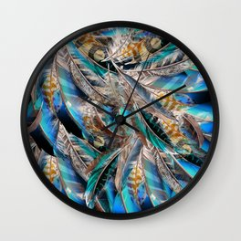Fashion pattern with blue feathers. Trendy design Wall Clock