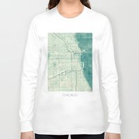 vintage map Long Sleeve T-shirts featuring Chicago Map Blue Vintage by City Art Posters
