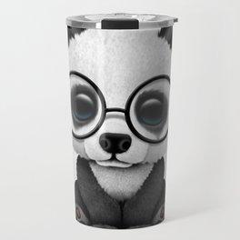 Cute Panda Bear Cub with Eye Glasses Travel Mug