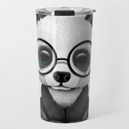 Cute Panda Bear Cub with Eye Glasses Travel Mug