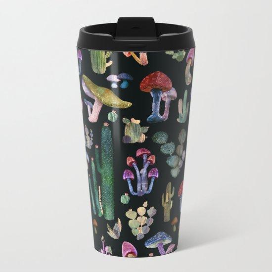 cactus and mushrooms Metal Travel Mug