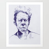 tom waits Art Prints featuring tom waits by Matteo Lotti