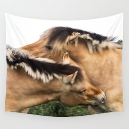 Nuzzling Horses in Color Wall Tapestry