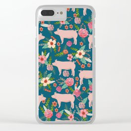 Pig florals farm homesteader pigs cute farms animals floral gifts Clear iPhone Case