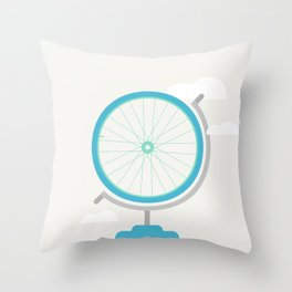 Bike Globe Throw Pillow
