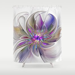 Energetic, Abstract And Colorful Fractal Art Flower Shower Curtain