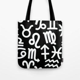 Zodiac signs seamless pattern. Horoscope symbols. Astrology background Tote Bag