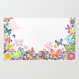Floral frame with butterflies Rug