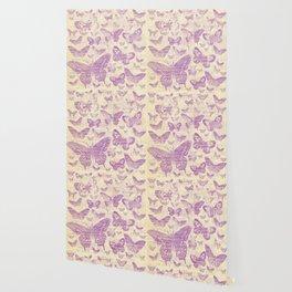 purple, vintage, butterflies, parchment Wallpaper